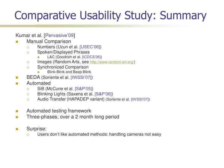 Comparative Usability Study: Summary