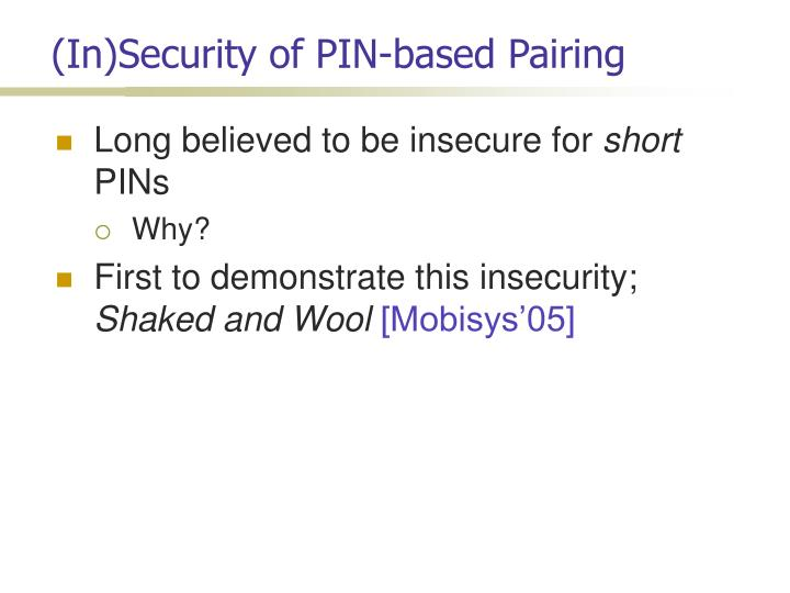 (In)Security of PIN-based Pairing