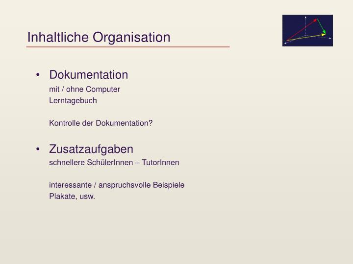 Inhaltliche Organisation
