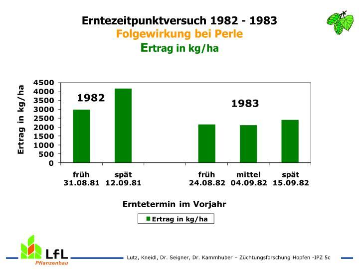Erntezeitpunktversuch 1982 - 1983