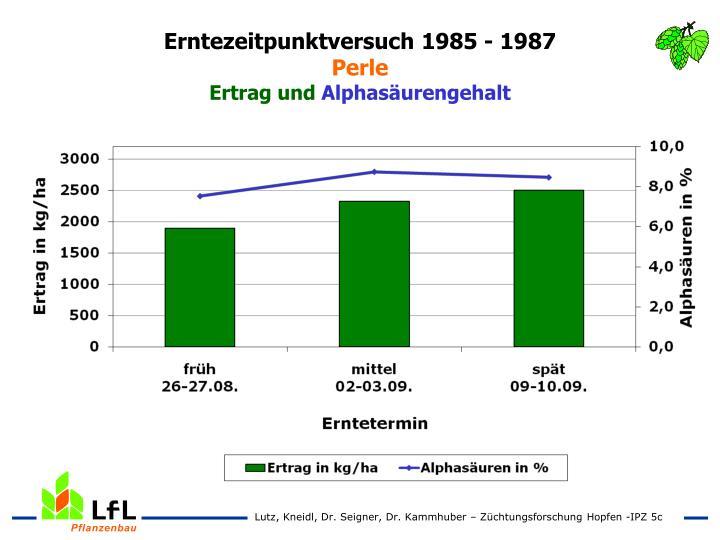 Erntezeitpunktversuch 1985 - 1987