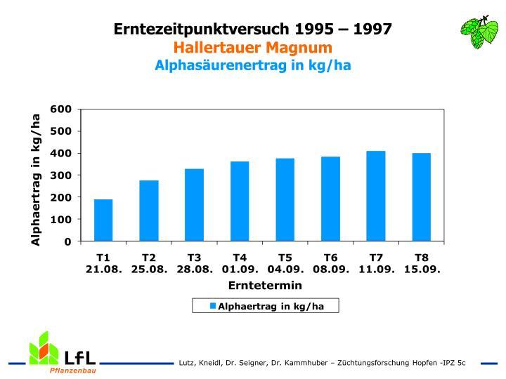 Erntezeitpunktversuch 1995 – 1997