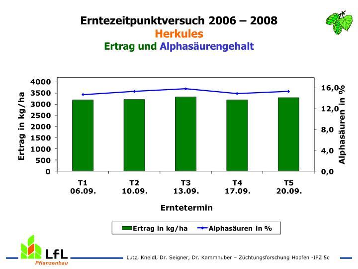 Erntezeitpunktversuch 2006 – 2008