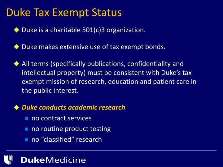 Duke Tax Exempt Status