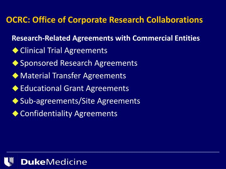 Research-Related Agreements with Commercial Entities