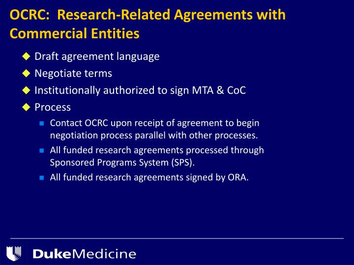OCRC:  Research-Related Agreements with Commercial Entities