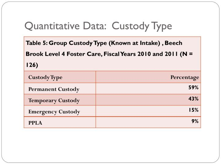 Quantitative Data:  Custody Type