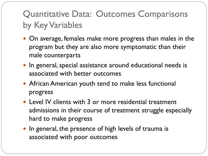 Quantitative Data:  Outcomes Comparisons by Key Variables