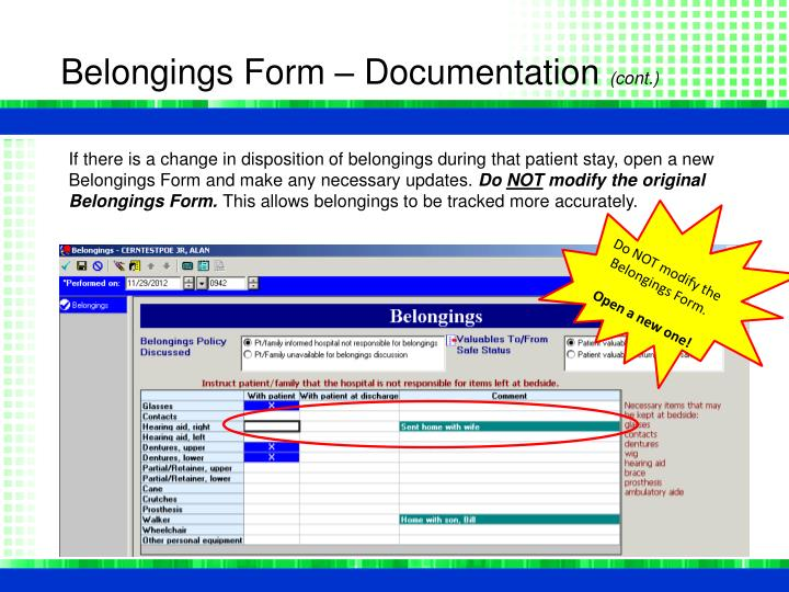 Belongings Form – Documentation