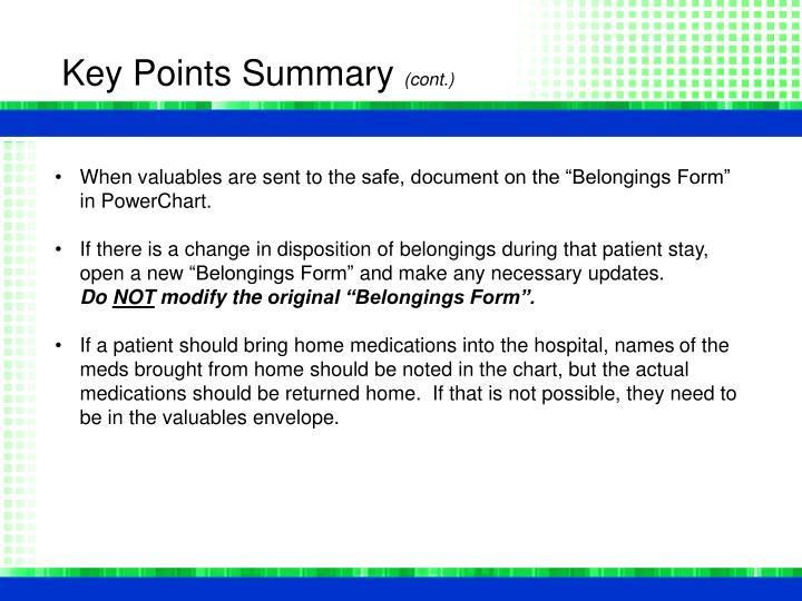 Key Points Summary