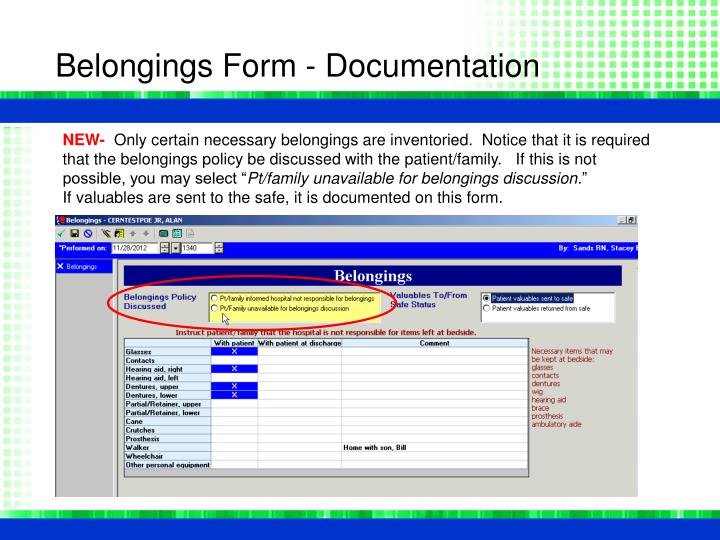 Belongings Form - Documentation