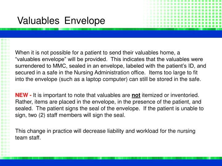 Valuables Envelope