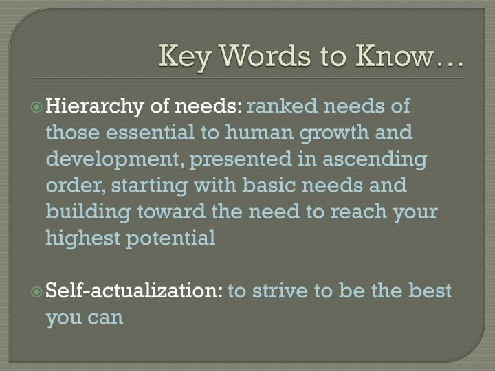 Key Words to Know…