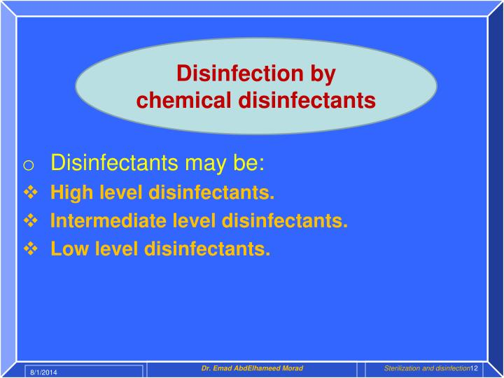 Disinfection by chemical disinfectants