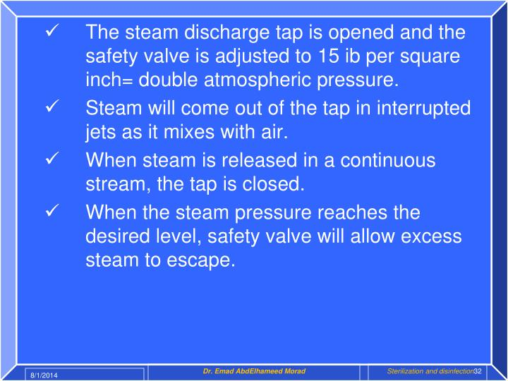 The steam discharge tap is opened and the safety valve is adjusted to 15 ib per square inch= double atmospheric pressure.