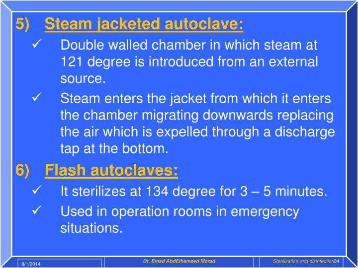 Steam jacketed autoclave: