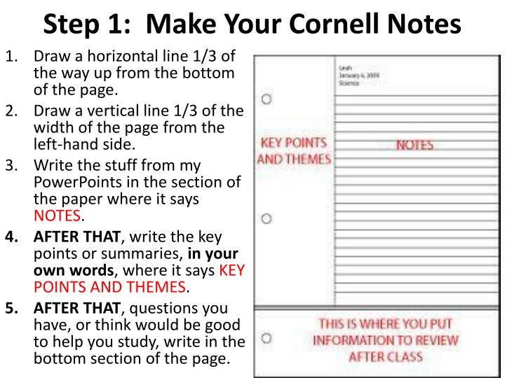 Step 1:  Make Your Cornell Notes