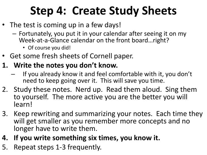 Step 4:  Create Study Sheets
