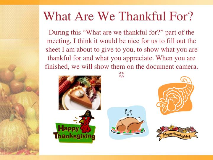 What Are We Thankful For?