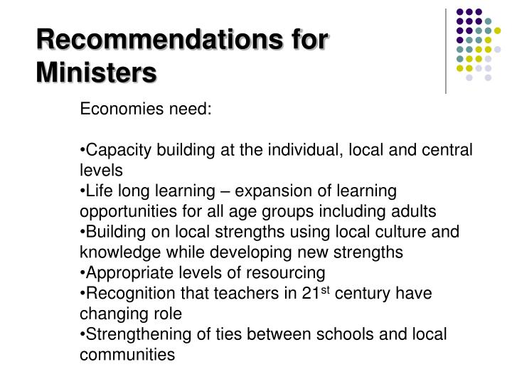 Recommendations for Ministers