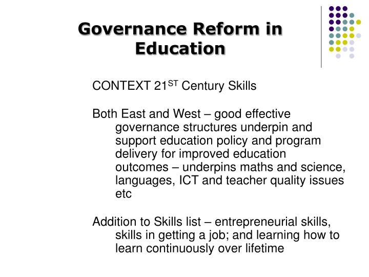 Governance Reform in Education