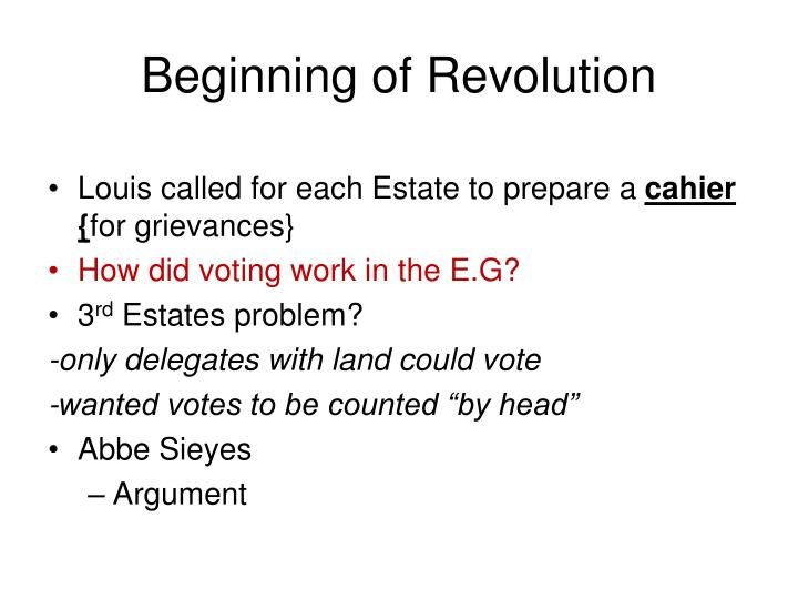 Beginning of Revolution