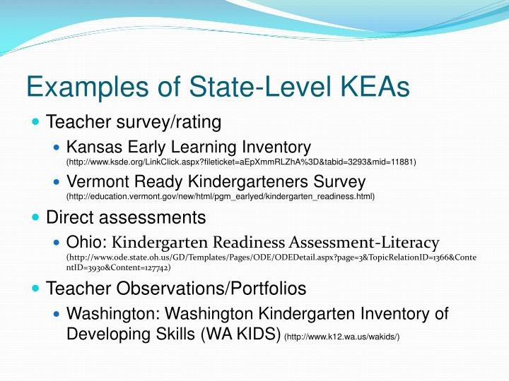Examples of State-Level KEAs