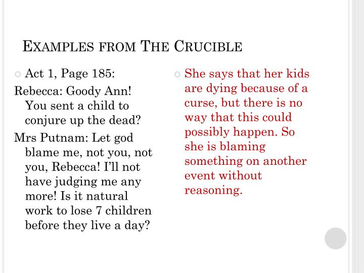 Examples from The Crucible