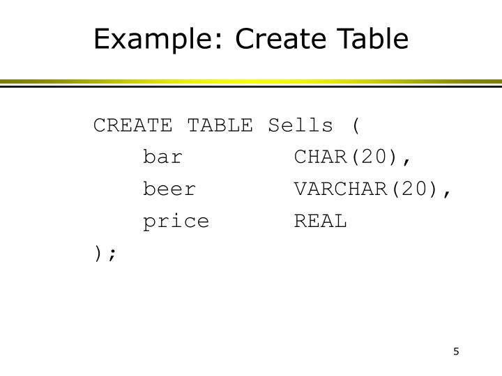 Example: Create Table