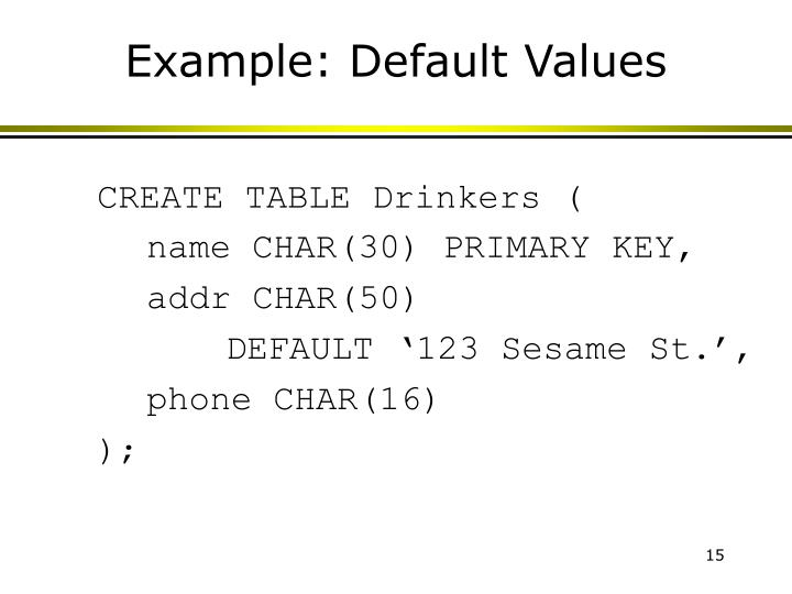 Example: Default Values