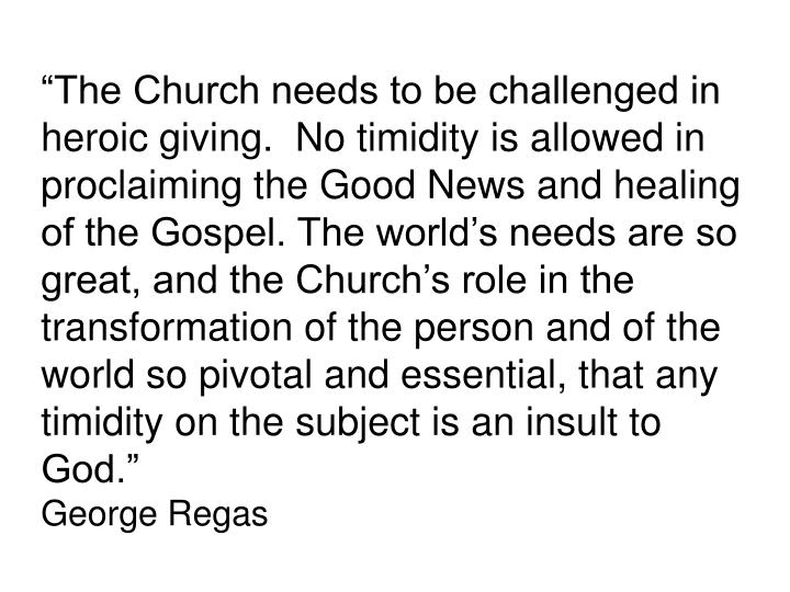 """The Church needs to be challenged in heroic giving.  No timidity is allowed in proclaiming the Good News and healing of the Gospel. The world's needs are so great, and the Church's role in the transformation of the person and of the world so pivotal and essential, that any timidity on the subject is an insult to God."""