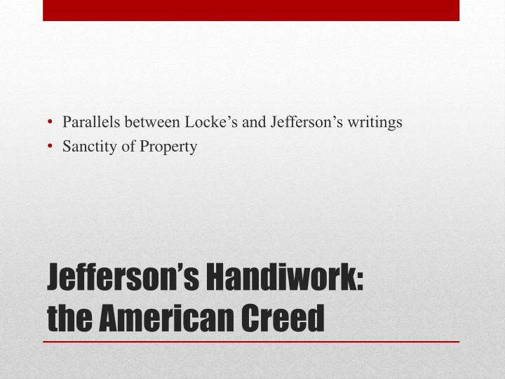 Parallels between Locke's and Jefferson's writings