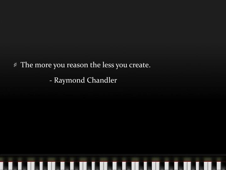 The more you reason the less you create.