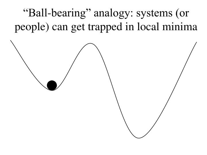 """Ball-bearing"" analogy: systems (or people) can get trapped in local minima"