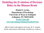 modeling the evolution of decision rules in the human brain
