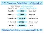 n t churches established in the faith