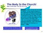 the body is the church matt 16 18 eph 1 22 23 col 1 18