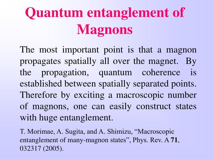 Quantum entanglement of Magnons