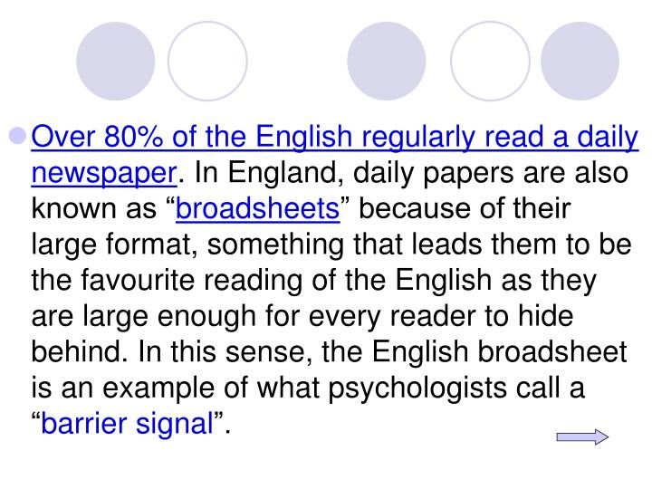 Over 80% of the English regularly read a daily newspaper