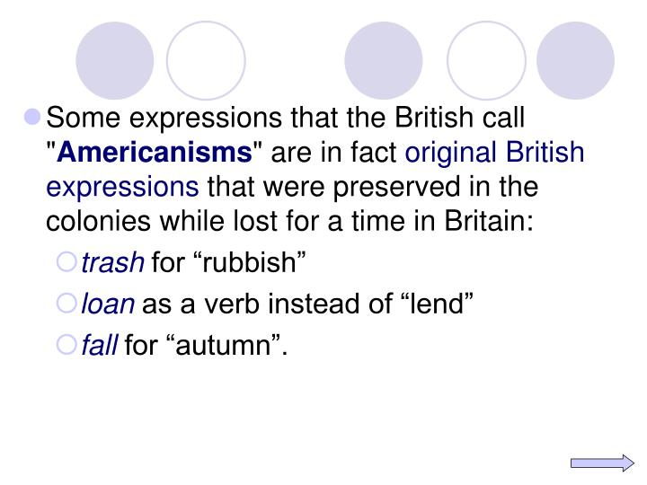 Some expressions that the British call ""
