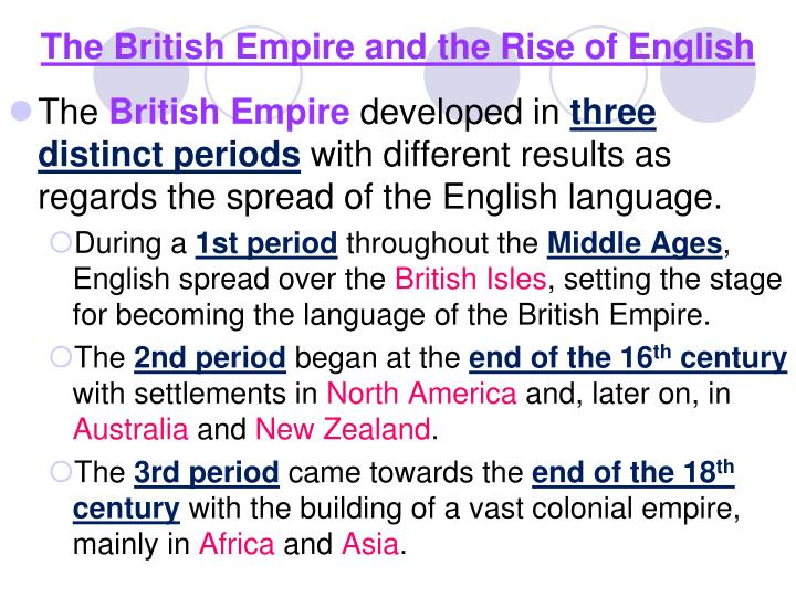 The British Empire and the Rise of English