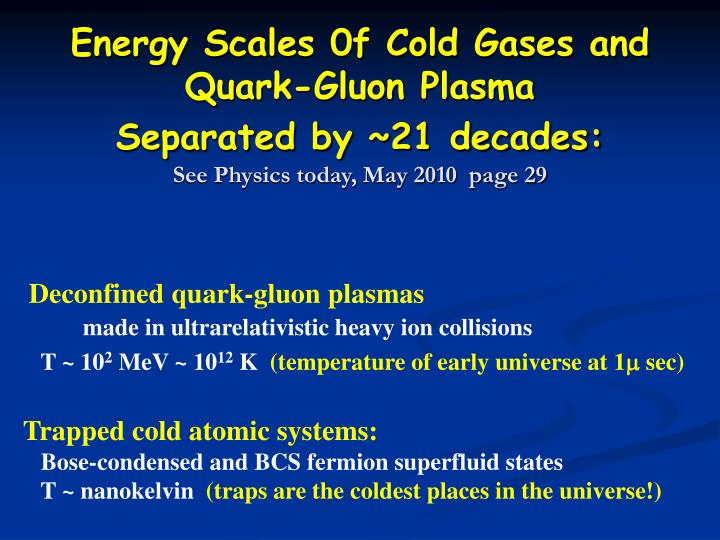 Energy Scales 0f Cold Gases and