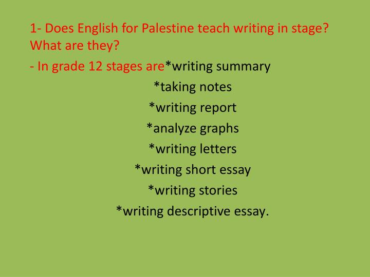 1- Does English for Palestine teach writing in stage? What are they?