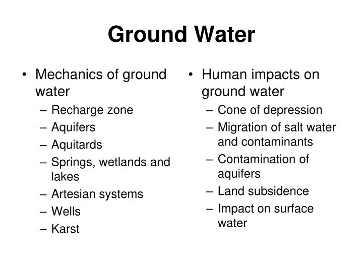 Mechanics of ground water