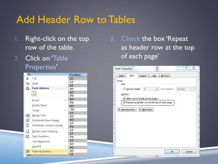 Add Header Row to Tables