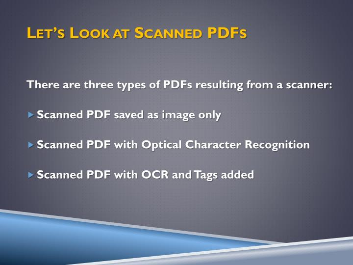 Let's Look at Scanned PDFs