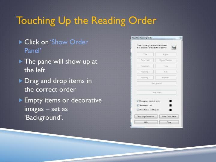Touching Up the Reading Order
