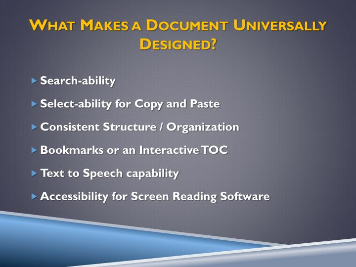 What Makes a Document Universally Designed?