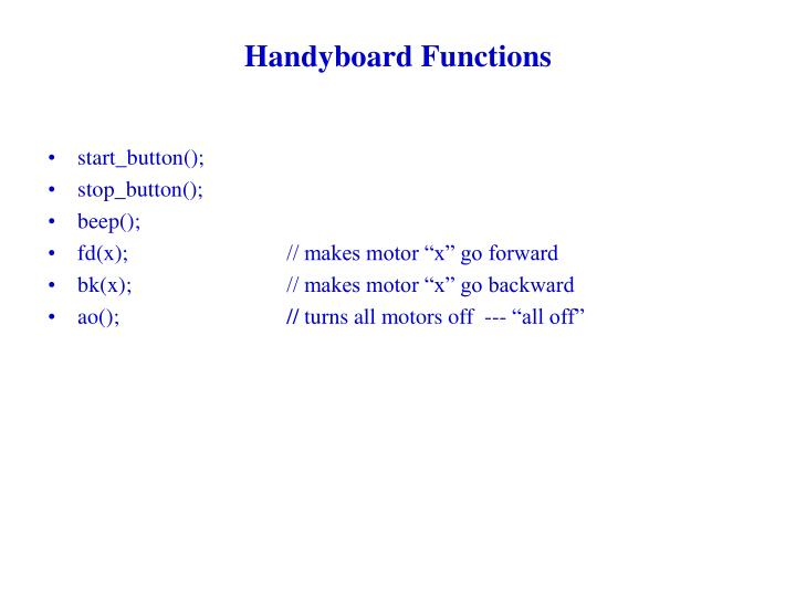 Handyboard Functions