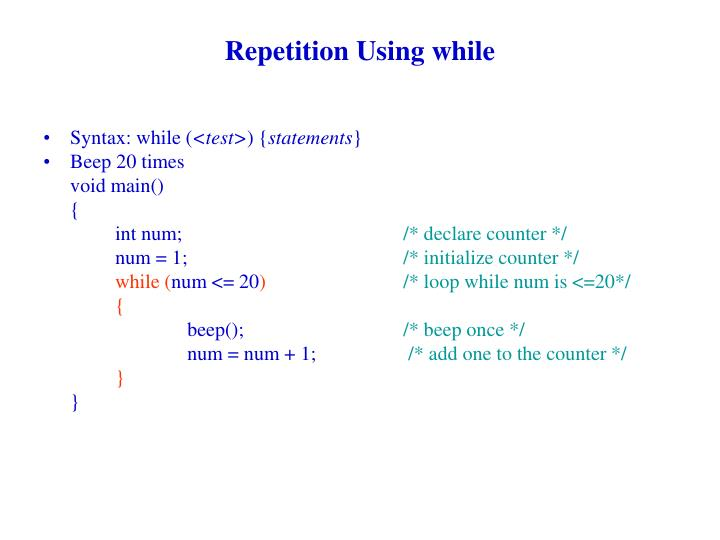 Repetition Using while